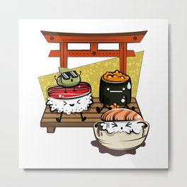 Kawaii Sushi Gang Is Having A Party Metal Print