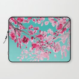 Cherry Blossom Aqua Laptop Sleeve