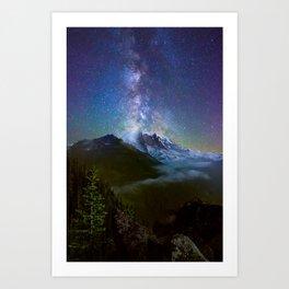 Milky Way Over Mount Rainier Art Print