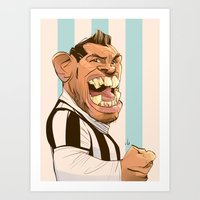 juventus Art Prints featuring Carlos Tévez by nachodraws