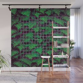 Fern Grid Plant Wall Wall Mural