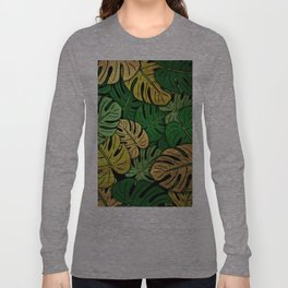 Grunge Monstera Leaves Long Sleeve T-shirt