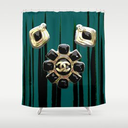 vintage coco jewlery gold glamour fashion green Shower Curtain