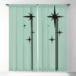 1950s Atomic Age Retro Starburst in Mint Green and Black Blackout Curtain