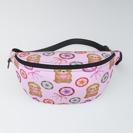 Funny happy little pink baby sloths, pink hearts. Vintage retro lollipops. Cute girly pink pattern Fanny Pack