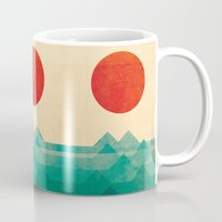 beach Mugs featuring The ocean, the sea, the wave by Picomodi