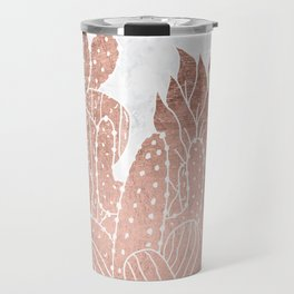 Modern faux rose gold cactus hand drawn pattern illustration white marble Travel Mug