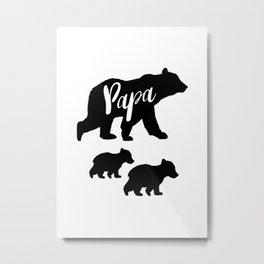 Papa Bear T Shirt with Two Cubs Metal Print