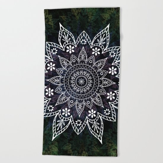 Rising Soul Mandala Design White Blue Green Beach Towel