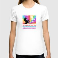 regina mills T-shirts featuring Regina Sassy Mills | Rainbow kisses and unicorn stickers by CLM Design