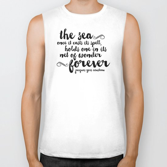 The Sea - Quote from Jacques Cousteau Biker Tank