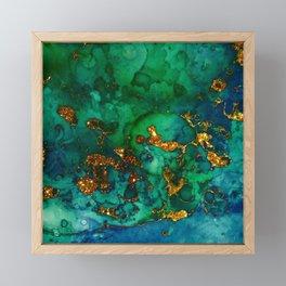 Emerald And Blue Glitter Marble Framed Mini Art Print