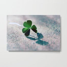 Green Clover Shadow Metal Print