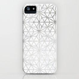 Modern silver stars geometric pattern Christmas white marble iPhone Case
