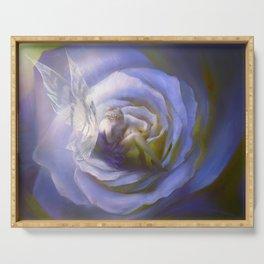 Fairy tale fantasy - purple rose Serving Tray