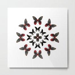 Scarlet Mormon Butterfly Circle Metal Print