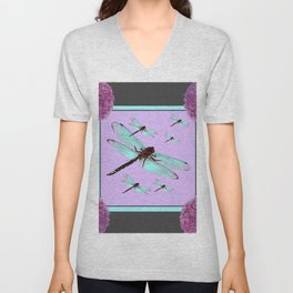 SPRING  BLUE DRAGONFLY FLIGHTS MODERN ART DESIGN Unisex V-Neck