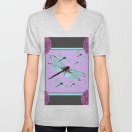 SPRING  BLUE DRAGONFLY FLIGHTS MODERN ART DESIGN Unisex V-Neck