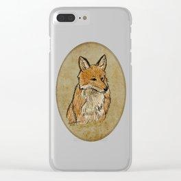 A Solemn Fox Portrait Clear iPhone Case