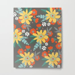Gray Yellow Red Floral Metal Print