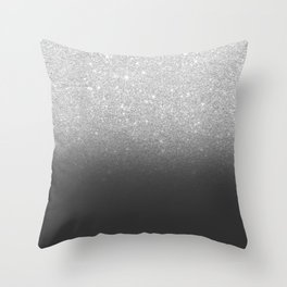 Modern faux silver glitter ombre grey black color block Throw Pillow