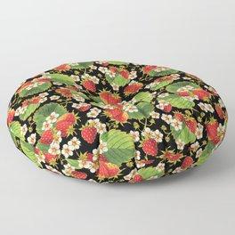 Strawberries Botanical Floor Pillow