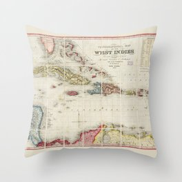 West Indies Map (1853) Throw Pillow