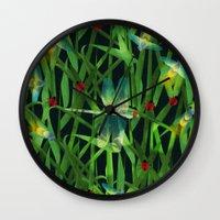 fireflies Wall Clocks featuring fireflies by kociara