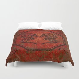 Distressed Dueling Dragons in Octagon Frame With Chinese Dragon Characters Duvet Cover
