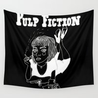 pulp fiction Wall Tapestries featuring Pulp Fiction (Inverted) by ☿ cactei ☿