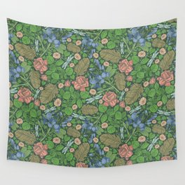 Blue sweet peas with pink roses and dragonflie on green background Wall Tapestry