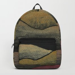 Watercolor on Black with Iridescent Gold and Red Tones - Abstract Hills Backpack