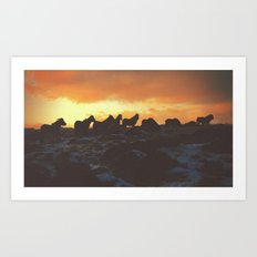 Golden Red Horses Art Print