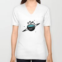 saturn V-neck T-shirts featuring Saturn by shoooes
