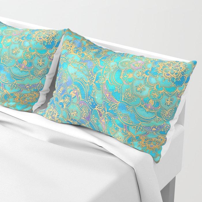 Sapphire & Jade Stained Glass Mandalas Pillow Sham