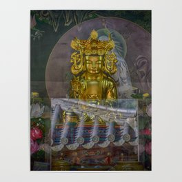 Temple Buddha and Reflection Poster