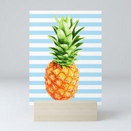Pineapple, blue stripes, Pineapple Poster, Summer poster Mini Art Print