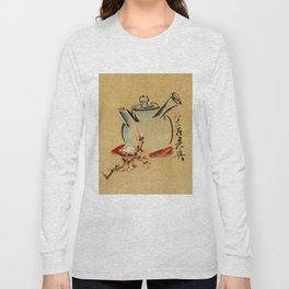 Vintage Japanese Teapot Painting Long Sleeve T-shirt