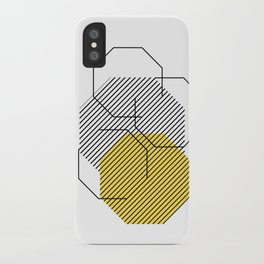 Geometric - Hexagon, Black & Yellow iPhone Case
