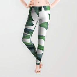 Tropical Palm Leaves Green on White Leggings
