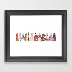 Princesses of the World - From The Princess and the Pea - By:Hans Christian Andersen Framed Art Print