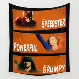 The Speedster, the Powerful, and the Grumpy Wall Tapestry