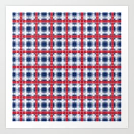 Plaid, red and blue Art Print