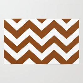 Saddle brown - brown color - Zigzag Chevron Pattern Rug