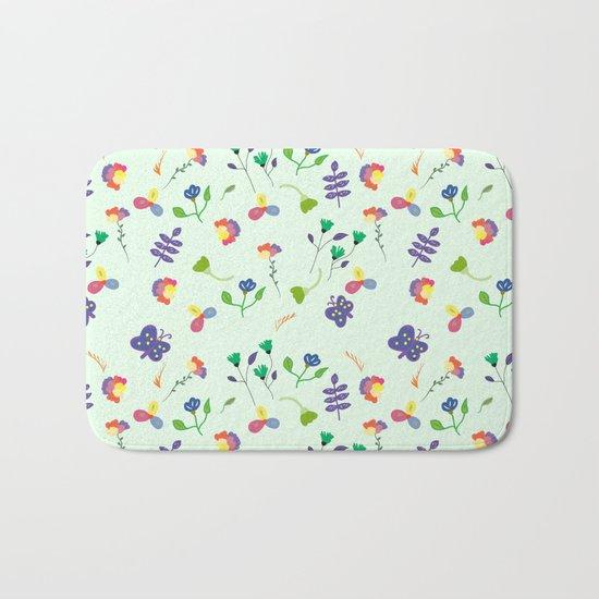 Spring Floral Pattern Bath Mat