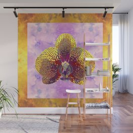 Watercolor Orchid Portrait #2 | Floral Art Print | Saffron Yellow Garnet Red Wall Mural