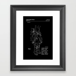 NASA Space Suit Patent - White on Black Framed Art Print