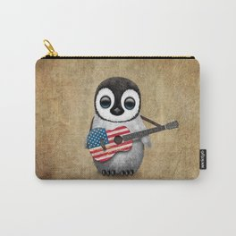 Baby Penguin Playing American Flag Acoustic Guitar Carry-All Pouch