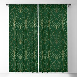 Art Deco in Gold & Green - Large Scale Blackout Curtain