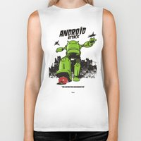 android Biker Tanks featuring ANDROID ATTACK by Adams Pinto